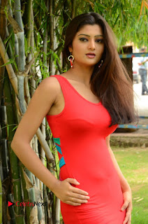 Actress Poojitha  Pictures in Red Short Dress at Bullet Movie Opening  0015