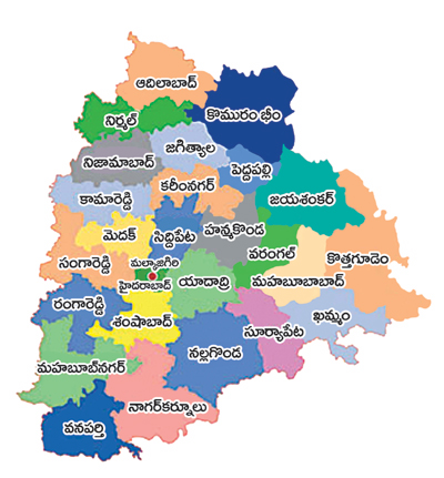 New Telangana Map with New Districts