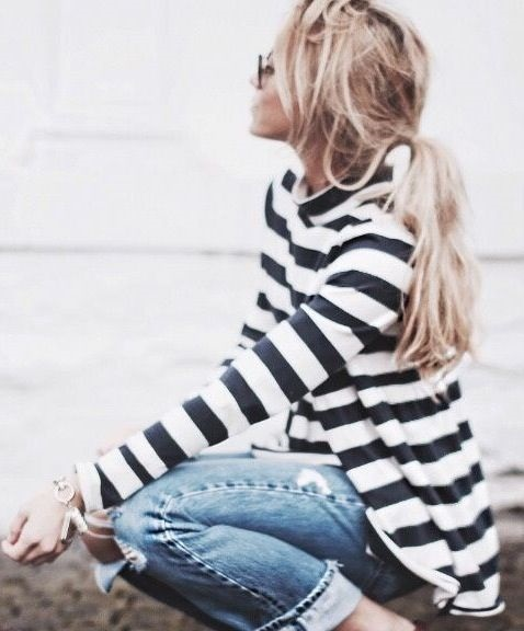 striped top + denim