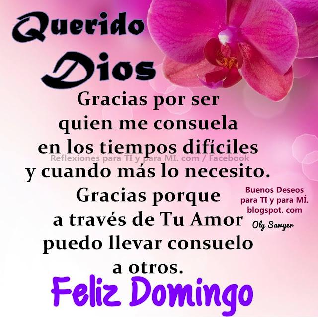 QUERIDO DIOS Gracias por ser quien me consuela en los tiempos difíciles  y cuando más lo necesito. FELIZ DOMINGO!