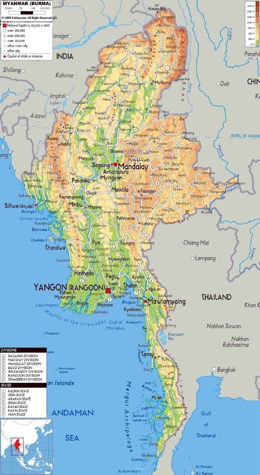 Peta Negara Myanmar