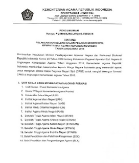 Kementerian Agama Republik Indonesia telah mengeluarkan pengumaman yang berisi ihwal  Pelaksanaan Seleksi CPNS Kemenag 2018