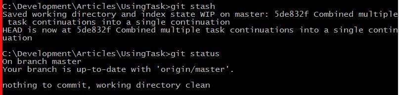 git stash command example