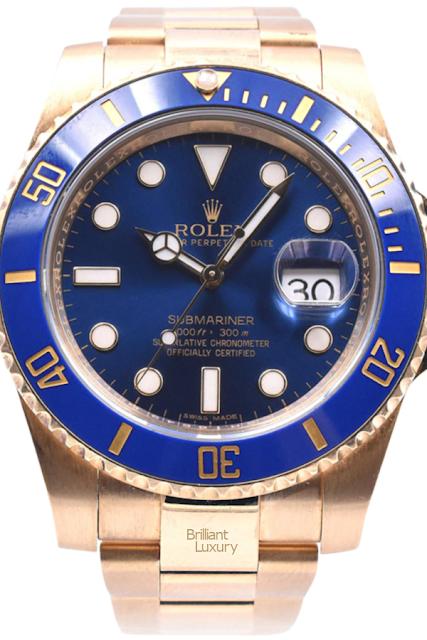 Brilliant Luxury♦Rolex Submariner Blue Ceramic Submariner 18 Karat Yellow Gold Watch