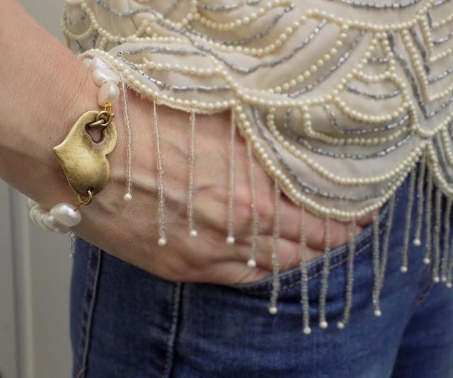 Danon freshwater pearl and heart bracelet