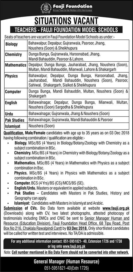 Teaching Jobs For Male and Female All Branches Of Fauji Foundation