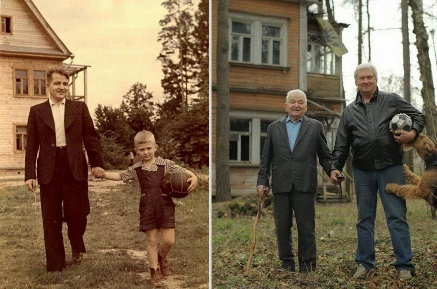 30 of the most powerful images ever - Father and son (1949 vs 2009)