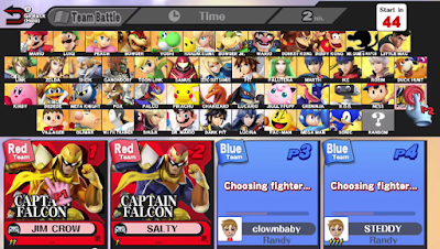 Super Smash Bros. For Wii U For Glory Team Battle lobby character selection screen wifi online name tags communication