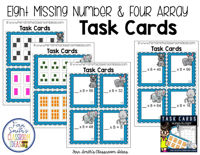 Multiply By Eight Task Cards at TeacherspayTeachers by Fern Smith's Classroom Ideas.
