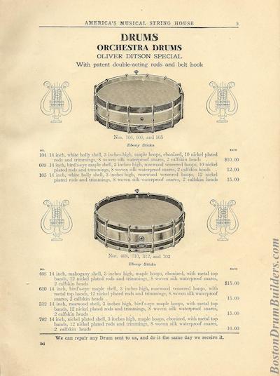 1910 Oliver Ditson Catalog - Snare Drums
