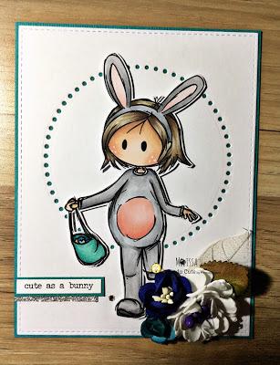handmade card using Easter girl digital stamp