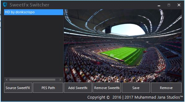 PES 2017 SweetFX Switcher dari Jana