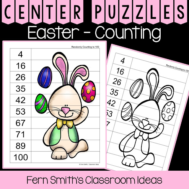 You will love these easy to prep colorful Easter Counting Puzzles. All puzzles come in black and white copy masters for many multiple exciting uses: seatwork, homework, guided practice, center work, OT practice, small group, RTI, tutoring, morning work, etc. as well. #FernSmithsClassroomIdeas