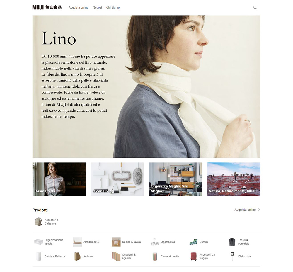 muji home page ecommerce