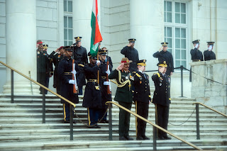 Gen. Dalbir Singh,  Maj. Gen. Bradley A. Becker and Vice Chief of Staff of the Army Gen. Daniel B. Allyn salute during a wreath-laying event at the Tomb of the Unknown Soldier
