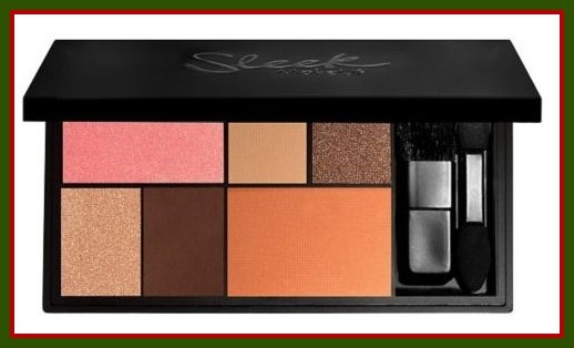 Sleek face makeup palette with blusher, contour and highlight shades.