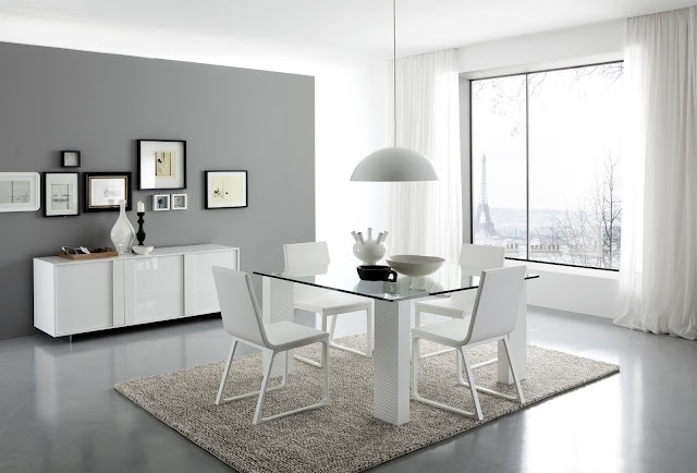 modern dining room with square glass dining table completed with modern white dining chairs