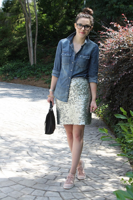 2017, OOTD, sequins, chambray, pink, J.Crew,