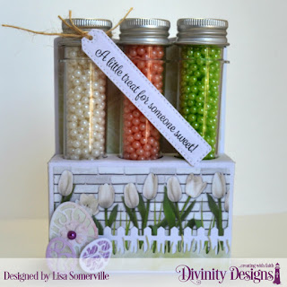 Divinity Designs Stamps: Treat Tag Sentiments 2, Custom Dies: Test Tube Trio, Fence, Grass Lawn, Easter Eggs, Paper Collection: Spring Flowers 2019, Test Tubes: Large