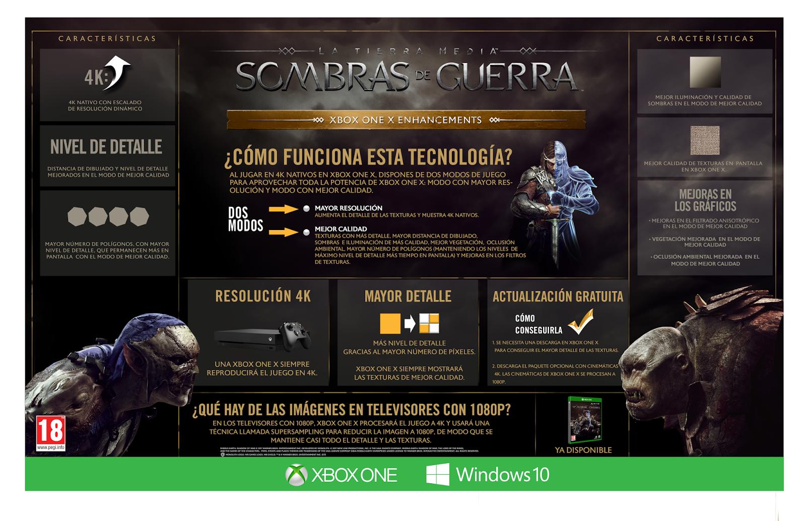 La Tierra Media: Sombras de Guerra lanza su mejora para Xbox One X