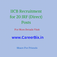 IICB Recruitment for 20 JRF (Direct) Posts
