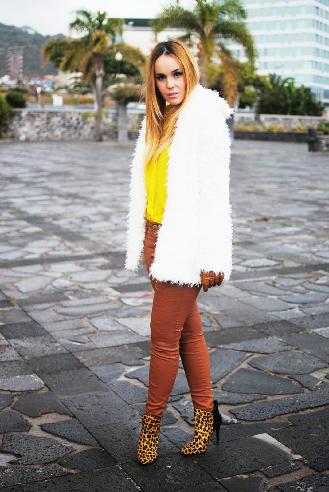 nery hdez, gloves, primark, rosewholesales, fur coat, teddy coat, canary yellow