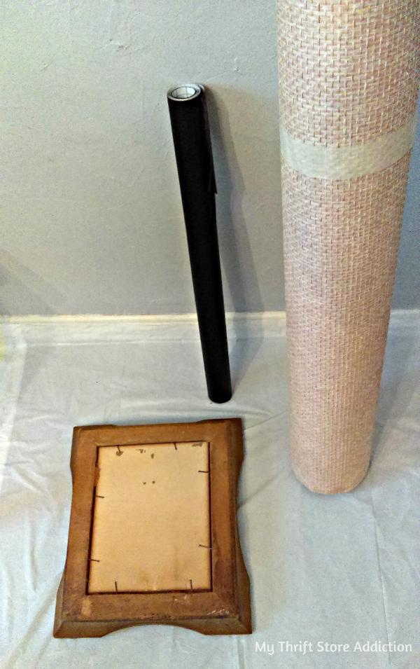 Repurposed vintage frame chalkboard tray