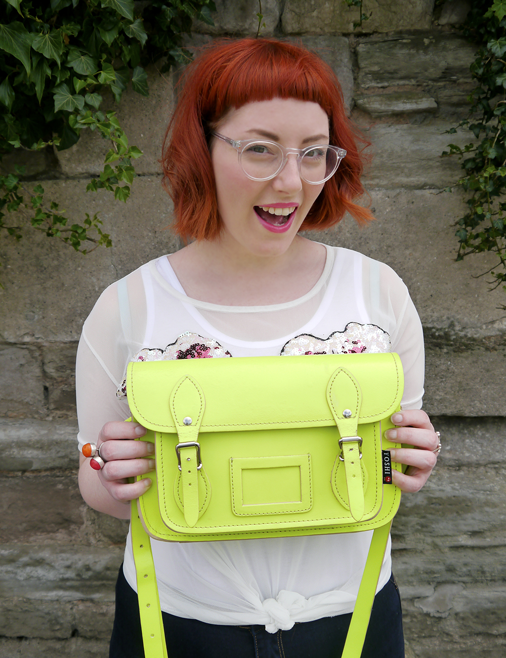 styled by Helen, Scottish blogger, Dundee blogger, red head, ginger hair, short ginger hair, Iolla glasses, #seewithiolla, Never Monday, day time sequins, sequin top, casual sequins, Yoshi satchel, neon yellow satchel,