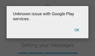 Google Play Services error message while syncing Gmail messages