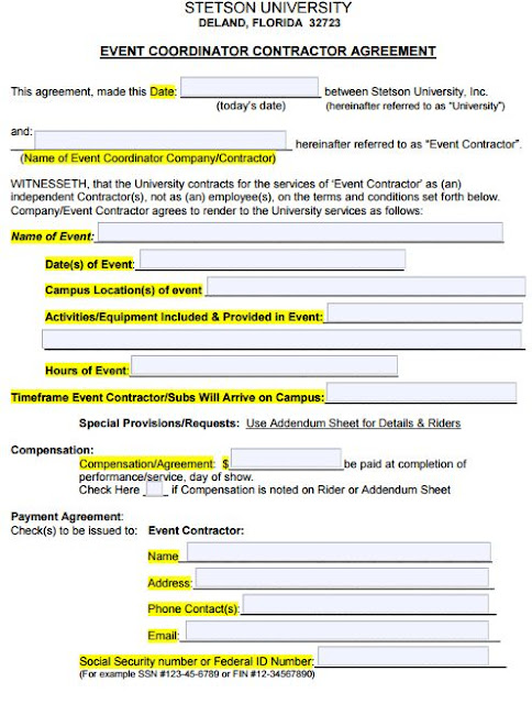 sample event planner contract agreement - Militarybralicious