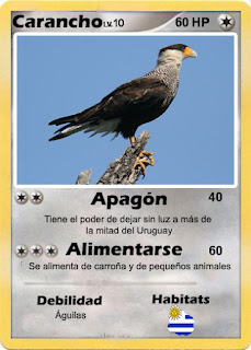 Cartas de Pokemon con Fauna uruguaya (Pradera) - Carancho