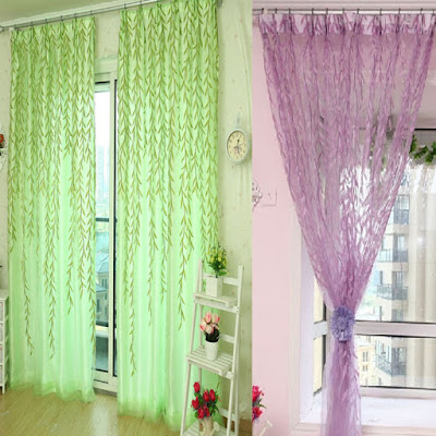 purple and green curtains contrast