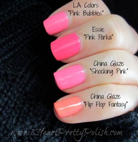 Essie Pink Parka China Glaze Shocking Flip Flop Fantasy Neon