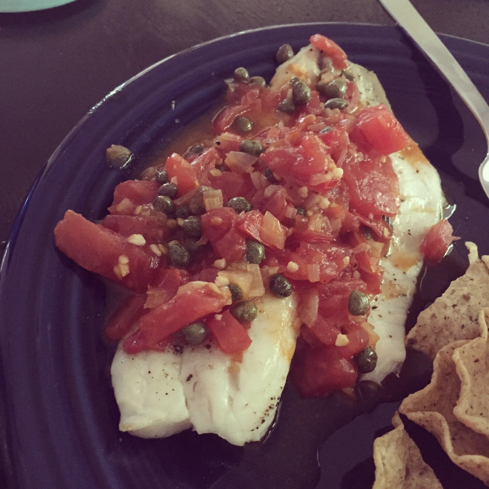 Broiled Tilapia with Tomato Caper Sauce via Skinnytaste