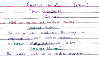 1st Year Chemistry Chapter 9 Important Questions from Past Papers