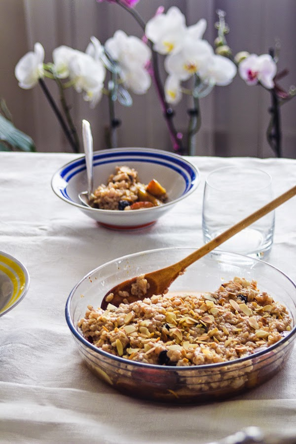Brown rice pudding with roasted plums thisisasweetblog recipe