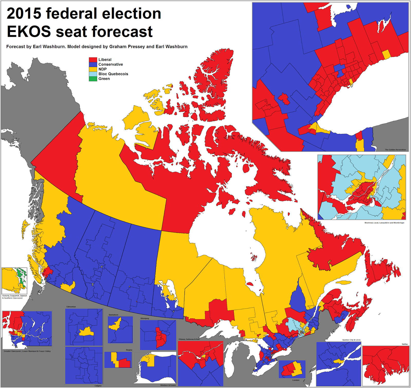 Canadian Election Atlas Ekos Seat Forecast For The 2015