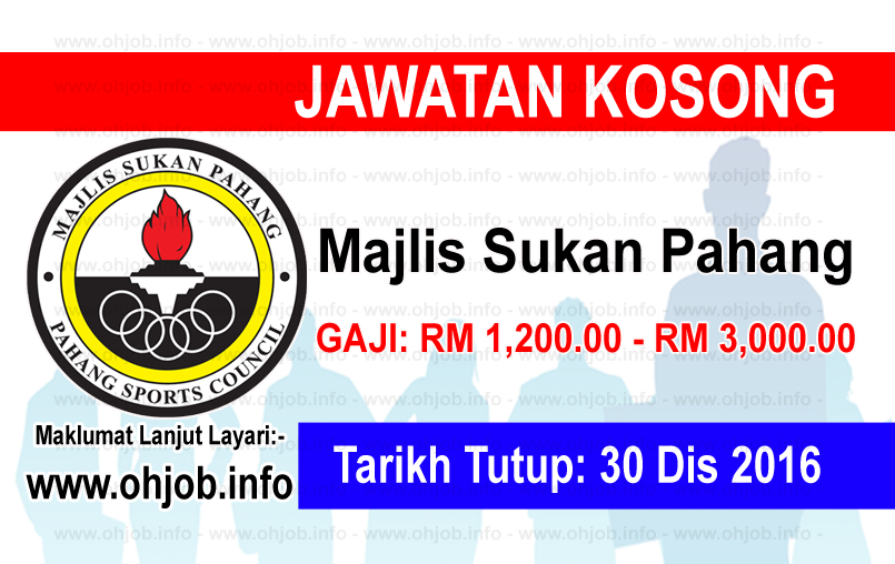 Jawatan Kerja Kosong Majlis Sukan Pahang logo www.ohjob.info disember 2016