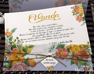convite de aniversario artesanal personalizado floral aquarelado boho chic rustico moderno delicado 80 anos casamento formatura noivado festa criativo laranjado amarelo flores
