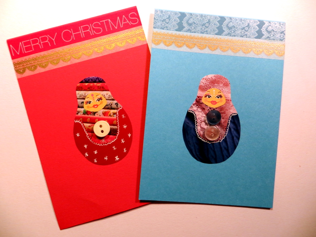 Button Matryoshka Christmas Cards