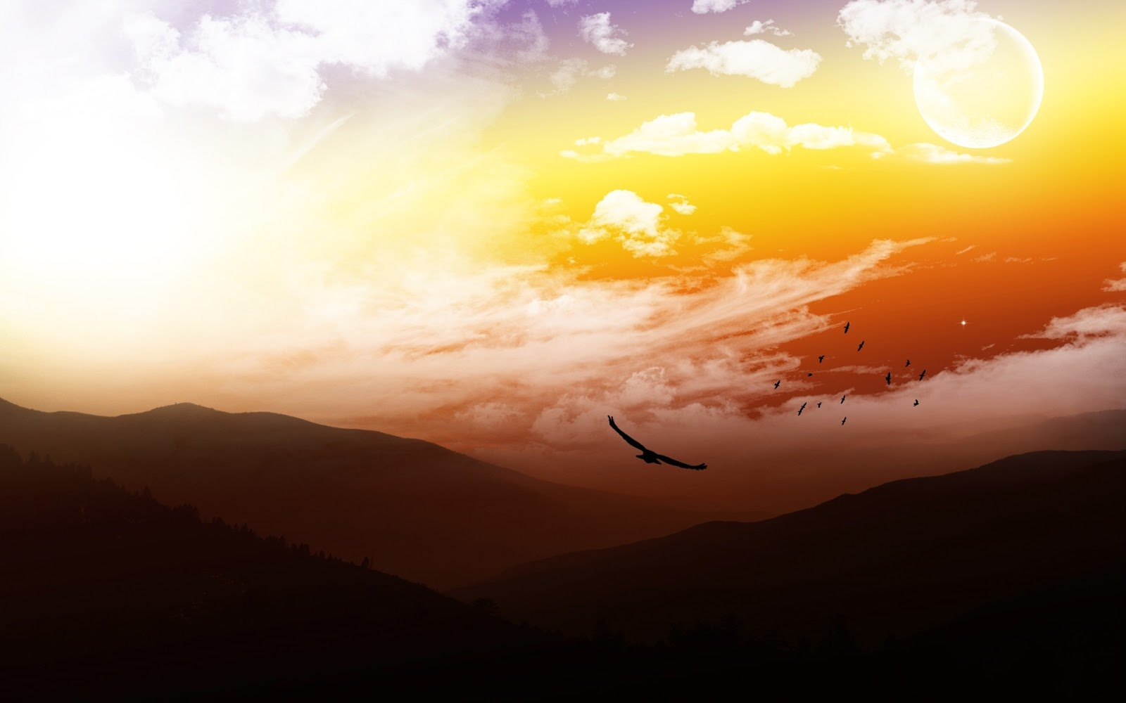 caida del sol entre montanas
