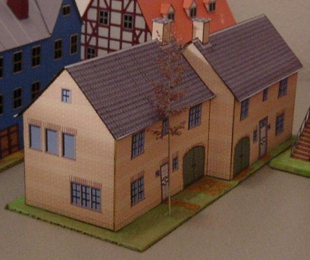 Free Scale Paper House Papermau: PAPERMAU: Two Connected Houses Papercraft In HO Scale