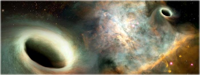 dois buracos negros se orbitando