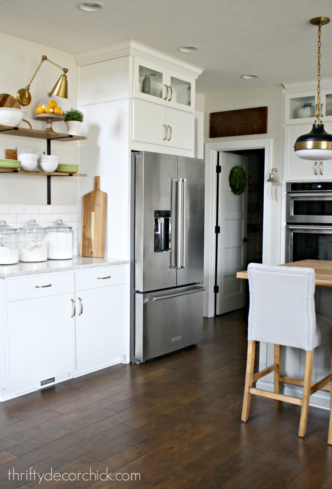 How to hang open shelves in kitchen