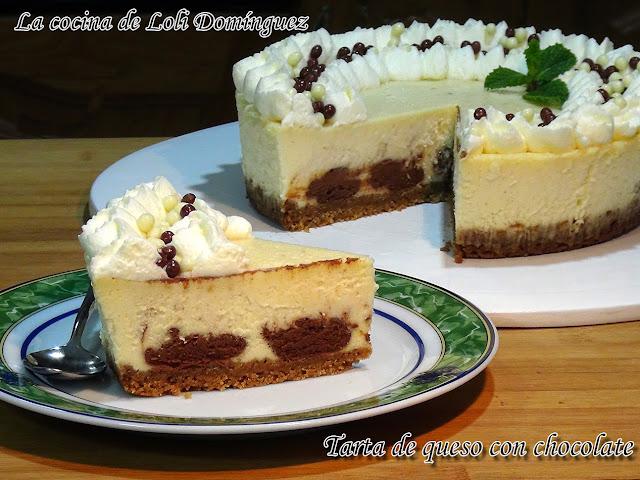Tarta De Queso O Cheesecake Con Chocolate. Súper Fácil Y Deliciosa
