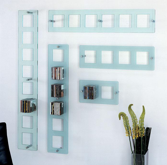 new style db0be 31ca4 Modern Wall Mounted CD Shelf in Glass by Lorenzo Arosio