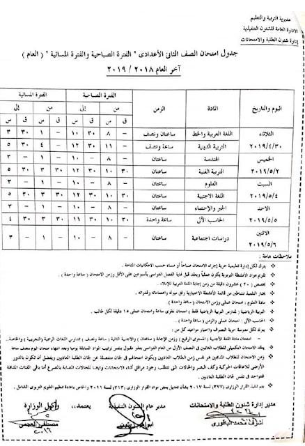 جدول محافظة الاسكندرية اخر العام 2019 جميع المراحل (ابتدائى واعدادى وثانوى)