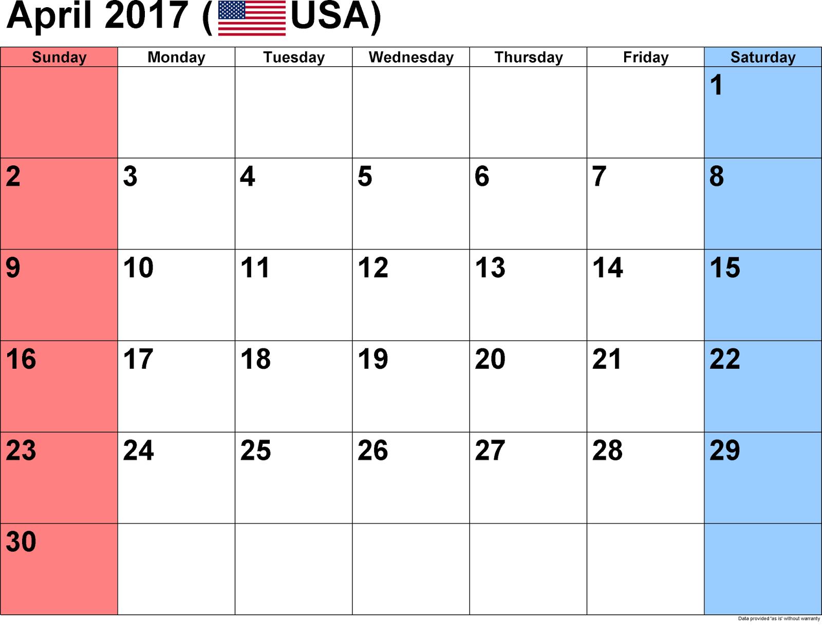 Printable Calendar April 2017 april 2017 printable calendar | april 2017 calendar template free