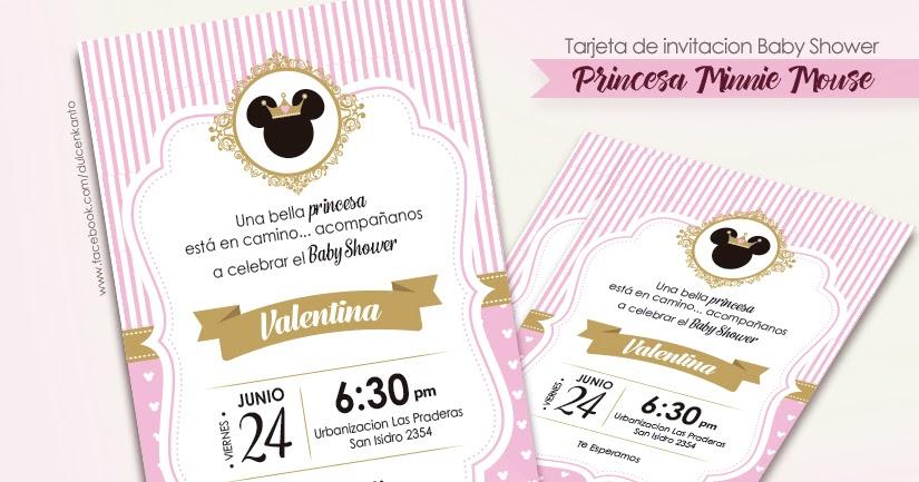 Dulce Enkanto Baby Shower Minnie Mouse Tarjeta De Invitación