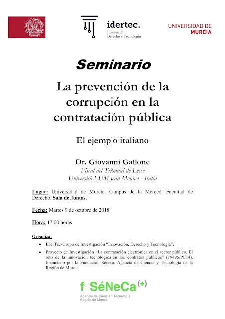 """Seminario: """"La prevención de la corrupción en la contratación pública"""""""
